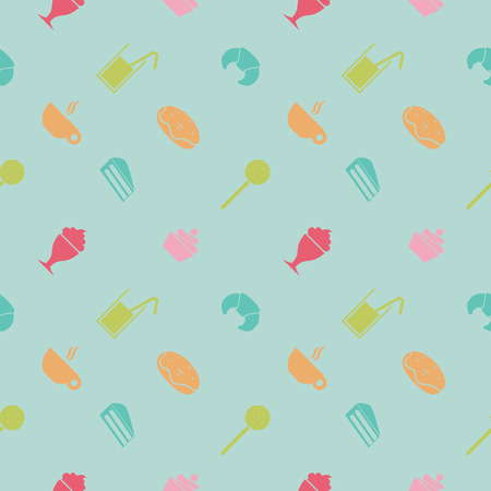 Vector. Sweet party pattern. Suitable for wrapping paper, packaging, web background etc. Flat design. Pink background, peach color objects. Illustration