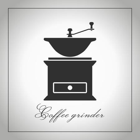 coffee mill: Coffee grinder. Coffee mill silhouette. Kitchen equipment icon. Coffee accessories. Isolated illustration. Vector. Graphic coffee grinder Illustration