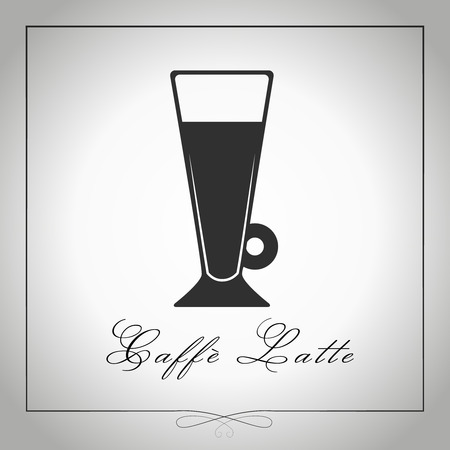 caffe: Cafe au lait or Caffe latte silhouette. High glass coffee. Graphic illustration. Isolated vector.