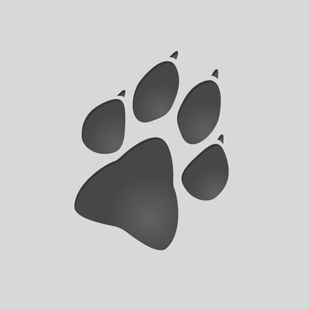 imprinted: Animals footprints: dog foot. Isolated illustration vector. Dog paw silhouette