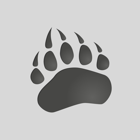 Animals footprints: bear paw. Isolated illustration vector. Bear paw silhouette Иллюстрация