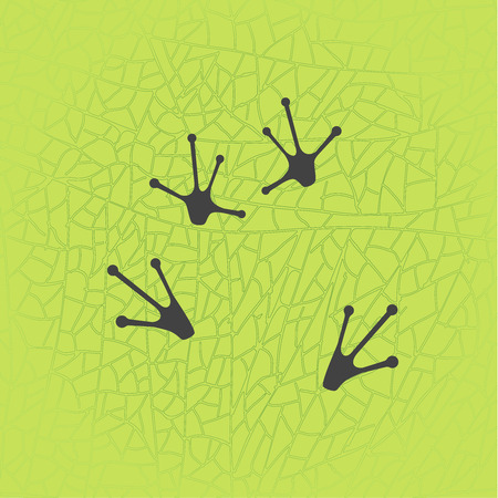 Animals footprints: frog feet. Isolated illustration vector. Frog paws silhouette on the green leaf texture background