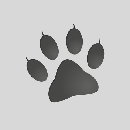 Animals footprints: cat paw. Isolated illustration vector. Cat paw silhouette
