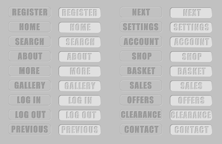 home button: Vector. Grey web buttons. Isolated buttons for internet: search button,home button,shop,log in button, log out button,gallery button,contact button, basket button, sales, gallery...Plus pushed buttons Illustration