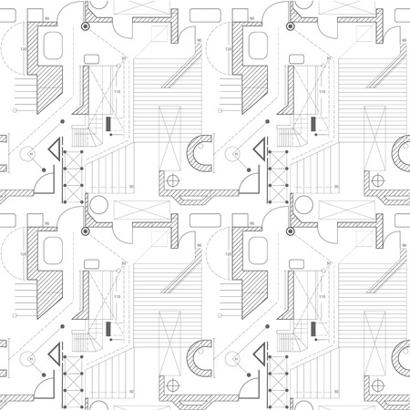 building plan: Architecture scheme background. Seamless pattern of abstract building plan. Vector. House plan. Illustration