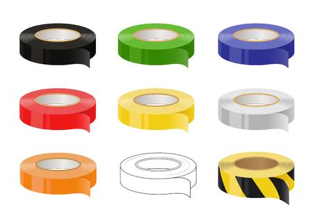 Set van zelfklevende tapes: zwart, groen, blauw, rood, geel, grijs, oranje, zwart en geel voorzichtigheid tape. Geïsoleerde illustratie. Vector.
