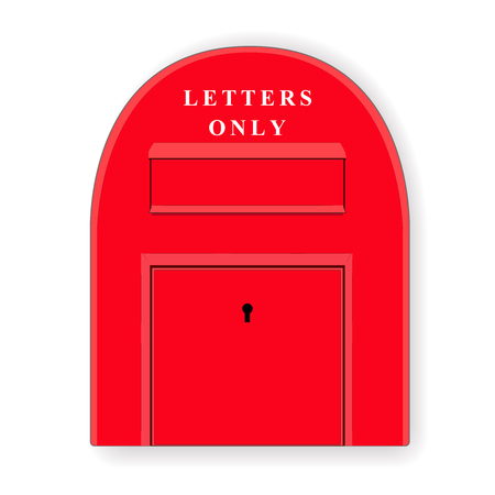 red post box: Red post box. Mailbox. Letterbox. Isolated illustration. Vector.