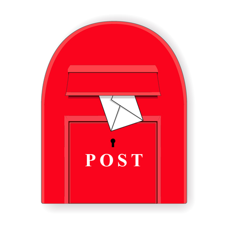 red post box: A red post box with a letter. Mailbox. Letterbox Isolated illustration. Vector illustration Illustration