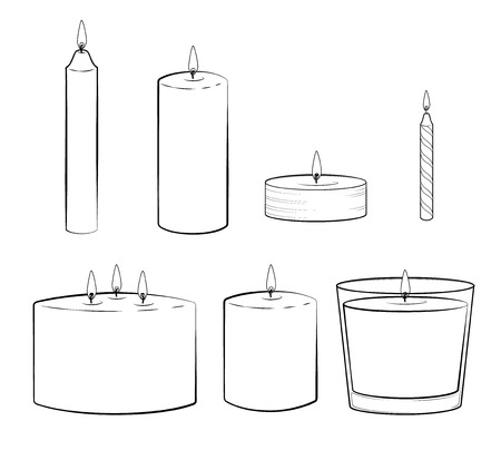 taper: Set of candles sticks: pillar candle, container or jar candle, taper candle, tealight candle, multi wick candle, party candle. Isolated illustration. Vector.