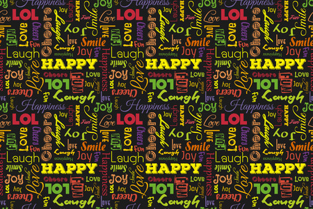 laughs: Colorful seamless pattern with words: happy, joy, laugh, smile, happiness, love, fun, cheers. Illustration