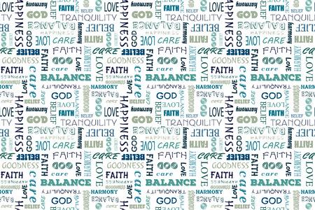 Navy blu seamless con le parole: l'amore, la pace, l'equilibrio, la felicità, la fede, Dio, la fede, la cura, la bontà, la tranquillità, l'armonia.