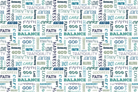 bondad: patrón transparente de color azul marino con las palabras: el amor, la paz, el equilibrio, la felicidad, la fe, Dios, la creencia, la atención, la bondad, la tranquilidad, la armonía. Vectores