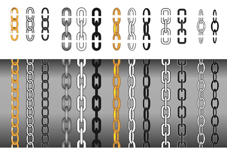 needed: Set of different chains, seamless and isolated chain parts to make it as long as needed. Illustration
