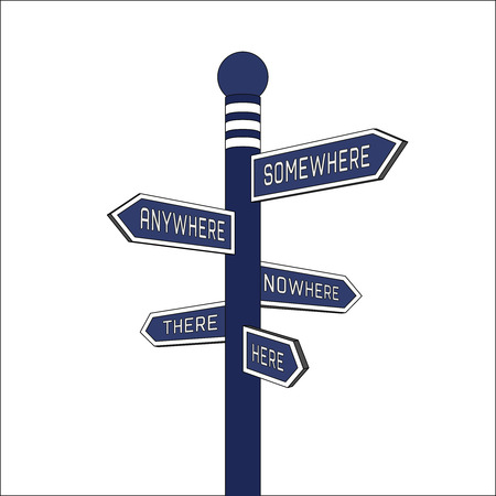 anywhere: Blue signpost. Direction signs: here, there, anywhere, nowhere, somewhere. Isolated illustration.