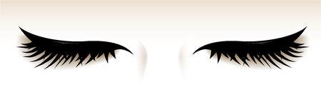 Occhi chiusi con grandi ciglia. Illustrazione isolato. Vettoriali