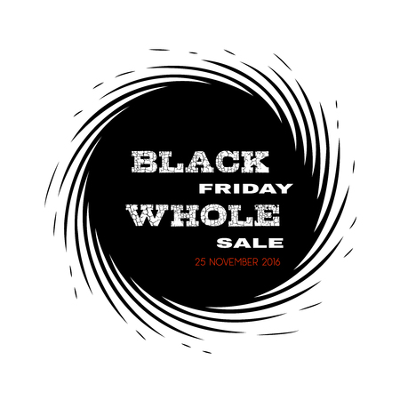 Schwarzer Freitag Großhandel 25. November 2016. Schwarzes Loch Stil Werbung. Isoliert Banner auf weiß. Vektorgrafik