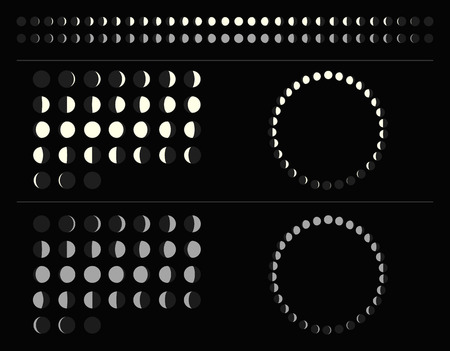 Set of moon phases schemes: circle, line, lunar calendar. Isolated illustration.