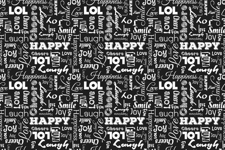 feeling good: Seamless pattern with words: happy, joy, laugh, smile, happiness, love, fun, cheers.