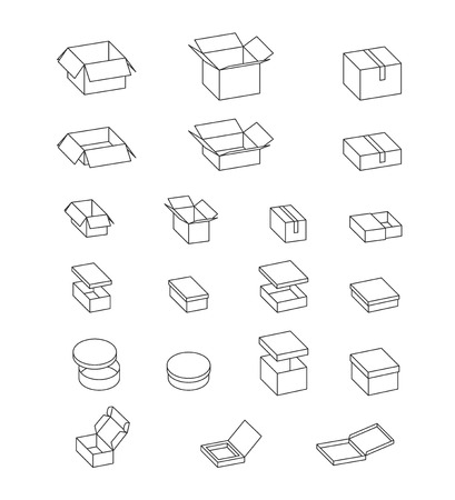 shoe box: Open and closed boxes. Set of cardboard boxes. Isolated carton packaging on white, simple illustration. Vector. Gift box, pizza box, mailing box, shoe box.