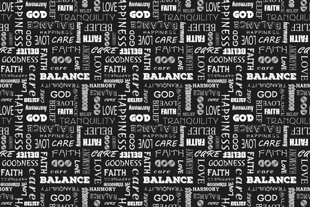 goodness: Seamless pattern with words: love, peace, balance, happiness, faith, God, belief, care, goodness, tranquility, harmony. Vector illustration. Black background.