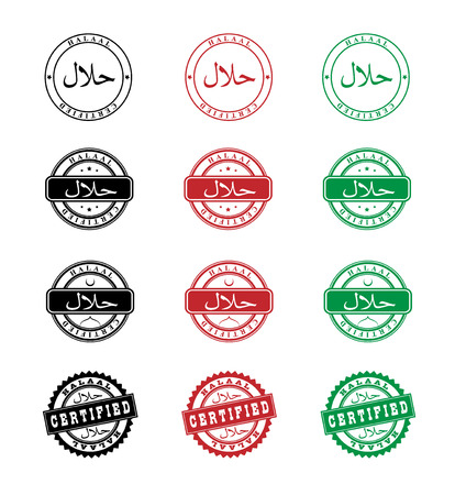 permissible: Halaal. Stamp halal certified. Isolated on white illustration. Vector. Halaal is translated from Arabic as Permissible. Illustration