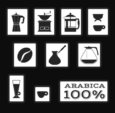 mocca: Set of coffee signs and icons for packaging. Vector. Isolated illustration. Filter, french press, moka, coffee grinder, coffee bean, latte, arabica espresso Illustration