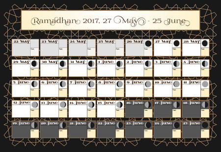 verses: Ramadan calendar 2017, 27th June. Check date choice. Includes: fasting tick calendar, moon cycle - phases, 30 days of Ramadan on black background with Islamic pattern. Vector illustration. Illustration