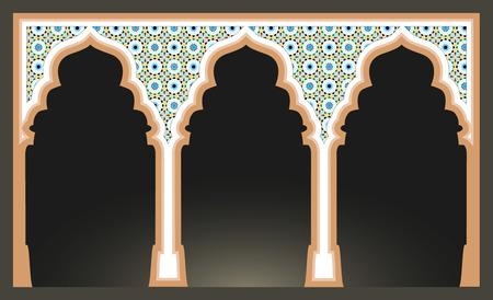 Islamic arcs with arabic mosaic pattern. Mosque columns isolated. vector illustration Illustration