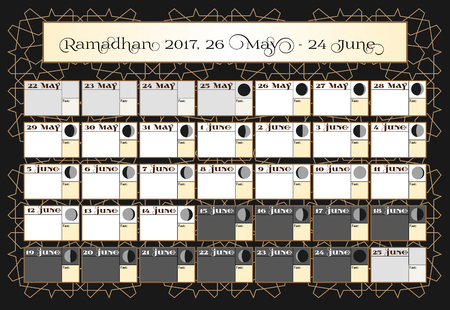 verses: Ramadan calendar 2017, 26th May. Check date choice. Includes: fasting tick calendar, moon cycle - phases, 30 days of Ramadan on black background with Islamic pattern.