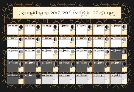 verses: Ramadan calendar 2017, 29th May. Check date choice. Includes: fasting tick calendar, moon cycle - phases, 30 days of Ramadan on black background with Islamic pattern.