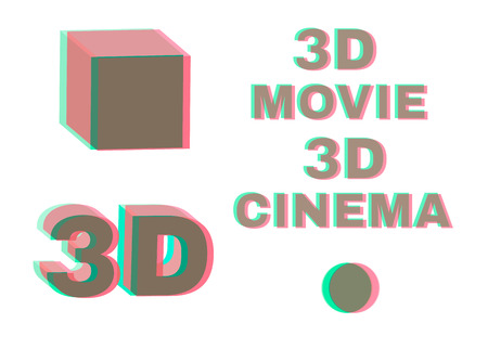 Stereoscopic objects and words: 3d movie, cinema. No transparency stereo effect. Isolated on white. Vector illustration.