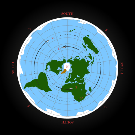 Cardinal direction on flat earth map. Isolated vector illustration Illustration