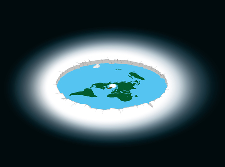 Flat Earth surrounded by Antarctica. Illustration.