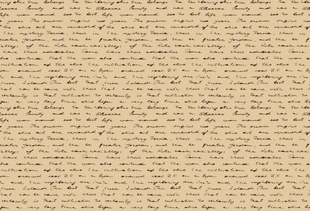 Antigo documento manuscrito. Papel antigo com escrita histórica. Padrão sem costura. Ilustração vetorial.