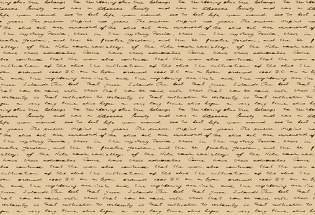 Old handwritten document. Ancient paper with historical hand writing. Seamless pattern. Vector illustration.