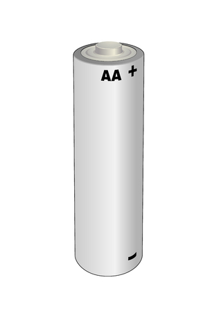 AA alkaline or lithium single cell battery. Isolated vector illustration.