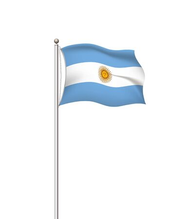 World flags. Country national flag post transparent background. Argentina. Vector illustration.