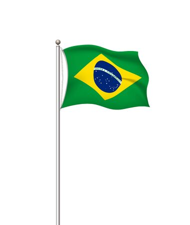 World flags. Country national flag post transparent background. Brazil. Vector illustration.