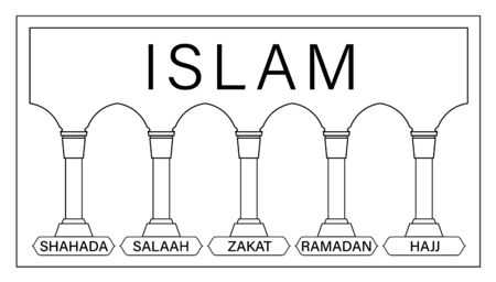 5 pillars of Islam. Kids educational illustration vector. hajj, faith, prayer, pilgrimage, fasting