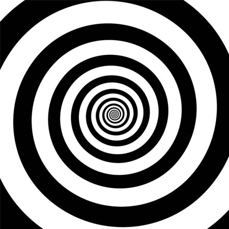 Spiral illusion black and white circular rotation effect. Vector illustration 일러스트