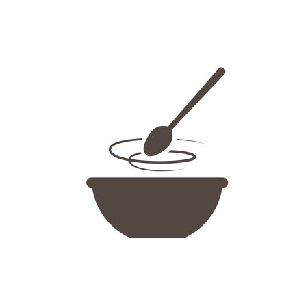Kitchen icon bowl with spoon, Flat vector illustartion. Cooking logo Иллюстрация