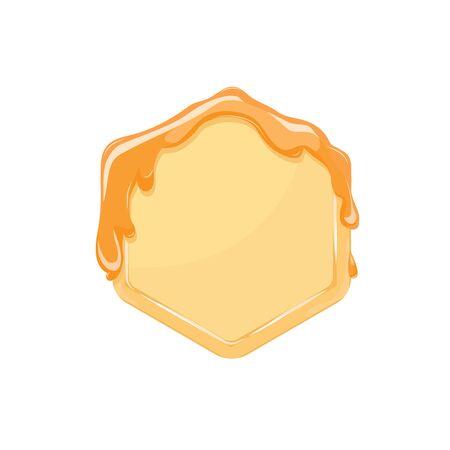 bee honey comb hexagon with honey. frame background. Vector illustration