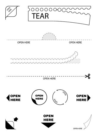 Open here package icons. Paper box tear, cut. open here sign. Sticker symbol. Scissors line. Vector illustration.