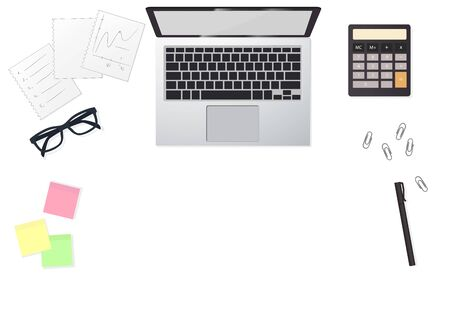 Business flat lay with lap top and graphs. Graphic illustration vector