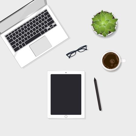 Business flat lay with lap top and tablet. Graphic illustration vector