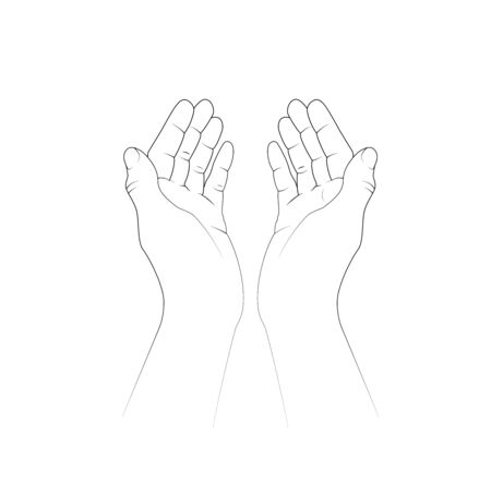 Making dua, prayer in arabic , asking God for help. Vector illustration.