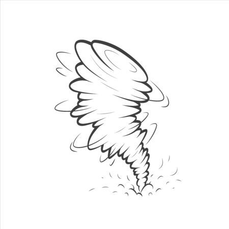 Tornado or whirlwind illustration. Clip art. Vector illustration