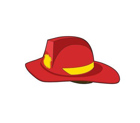 Fireman Red helmet. Firefighter safety hat. Vecto rillustration