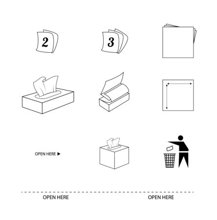 Tissue and paper towel flat line icons. Signs 2ply and 3ply sheets. Recycle symbol. Sheet size. Open here directions. Vector illustration icons
