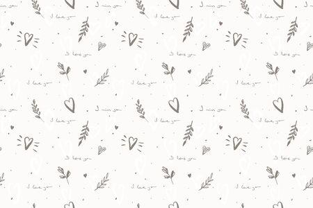 i love you seamless pattern. Handwritten love message texture. Romentic print Vector illustration Ilustração